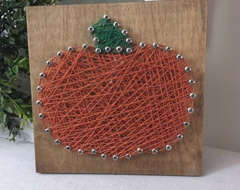 Adorable Pumpkin String Art on Wood  Fall Decor  Fall String Art  Pumpkin artwork
