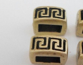 SALE: 2 5mm Flat Leather Sliders, Antique Brass Meander, High Quality 5mm Flat Leather Finding, Jewelry supplies,
