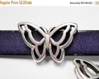 SALE: 1 Sterling Silver Plated 10mm flat Butterfly Slider, Open Butterfly frame, leather bracelet finding, jewelry supplies