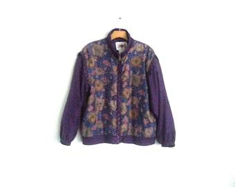 Vintage 90s Windbreaker Faux Chic Nouveau Colorblock Silk Jacket Women's Medium