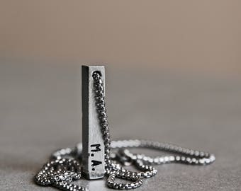 Initial Bar Necklace - Silver Name Bar Pendant - Pewter Bar Necklace - Men's Necklace - Unisex Jewelry - Personalized Necklace by Modern Out