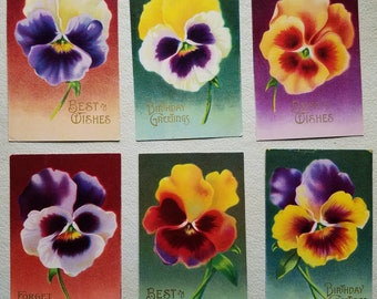 6 Antique Post Cards of Pansy Faces. ca Early 1900s. Birthday & Best Wishes Flower Postcards, 6 Different