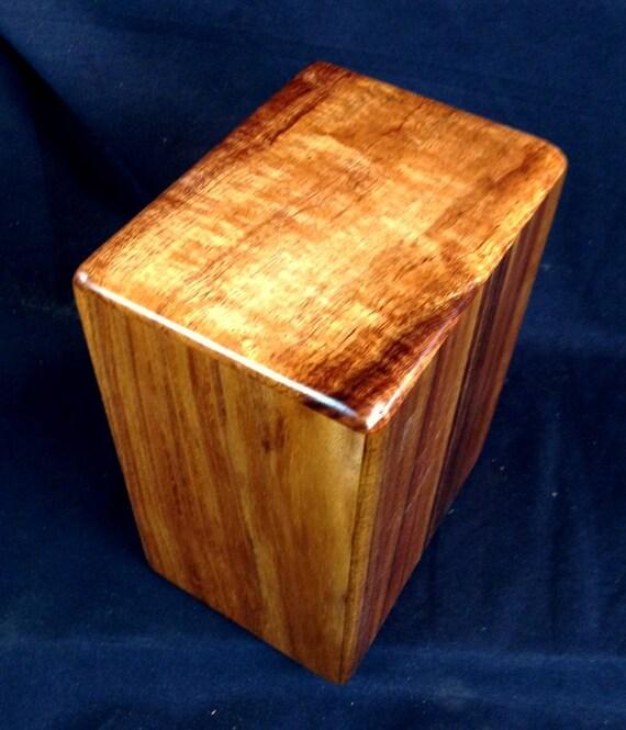 """Large Curly Hawaiian Koa Memorial Cremation Urn... 7""""wide x 5""""deep x 9""""high Wood Adult Cremation Urn Handmade in Hawaii LK091417-B"""