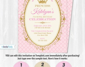 Princess Invitations - Princess Birthday Party Invitations - DIY Instantly Downloadable and EDITABLE File! Personalize with Templett.com NOW