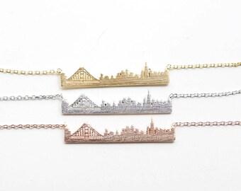 San Francisco skyline necklace, San Francisco bar necklace, city bar necklace, USA jewelry, souvenir San Francisco, city skyline necklace