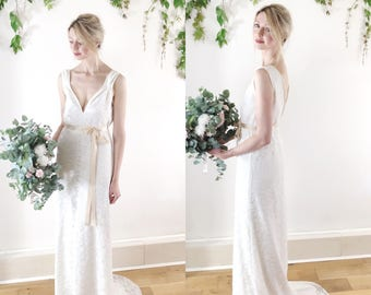 ALICE - v neck ivory lace dress, bridal gown, wedding dress, grecian style, train, backless wedding dress, full length UK 10/12 sample sale