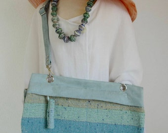15.065.0027 Cross body bag or shoulder bag, handmade of aqua vegan suede and a handwoven woollen fabric in complementing colours