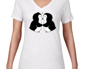 Womens V Neck, Penguins In Love, Cute Penguin Tshirt, VNeck, Arctic Animal, Penguin T Shirt, Penguin Tee, Ringspun Cotton, Semi Sheer