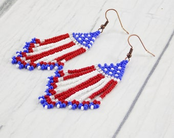 American Flag Earrings labor day gift 4th of july red white and blue patriotic earrings independence day national country USA Jewelry for me