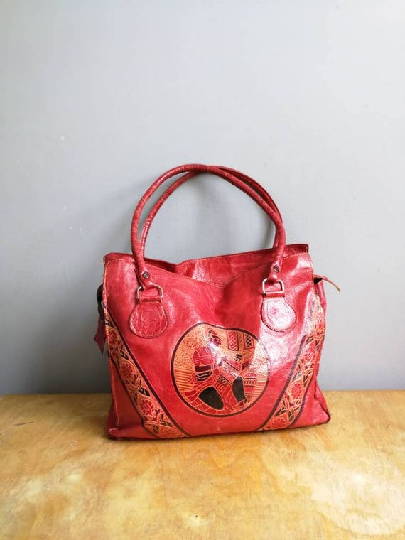 Ethnic red leather tote / boho red leather bag / boho leather tote purse / Moroccan leather tote bag