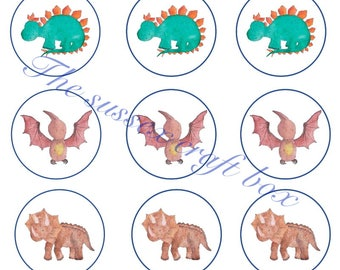 Instant download Bottle cap images watercolour dinosaurs x 15, 1 Inch circles Digital Pictures