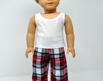 Red Plaid Flannel Pajama PJ Lounge Pants Made to fit American Boy Doll Clothes 18 Inch Doll Clothes