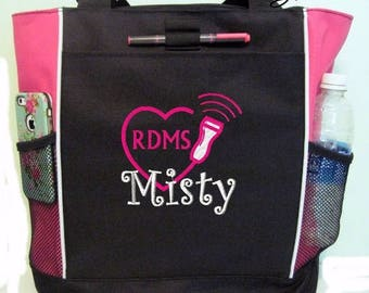 Free Shipping - Personalized  Sonographer Ultrasound Tech Tote Bag - More Colors - monogrammed Medical Heart Cardiac
