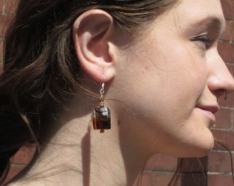 Gold Black Brown Square Glass Beaded earrings