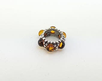 sterling silver and natural baltic amber bracelet charm