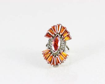 Sterling Silver Vintage Orange Glass and Marcasite Ring Size 8