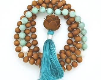 Lotus Mala with Sandalwood, Amazonite & Shell Beads; 108 bead mala, silk tassel, hand-made