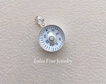 Tiny Sterling Silver Compass Charm    --Ready to Ship