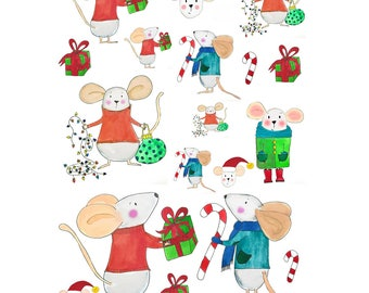 Not a Creature was stirring – Christmas Mouse Illustration stickers 001