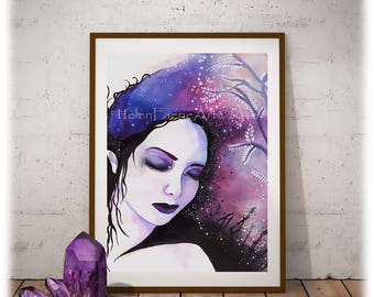 Cosmic Art Print, Ready to Frame Print, Purple Pink Fairy, Galaxy Art Print, Home Decor, Fairy Wall Art, Sleeping Fairy Print, Fairytale Art