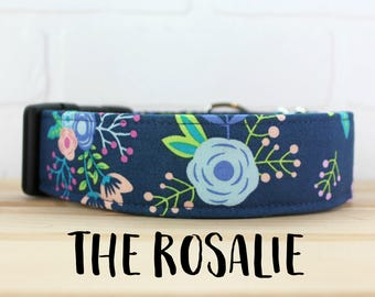 Dog Collar in Floral Navy for Girl Dog. Can be made into Buckle or Martingale Collar. PLEASE READ Item Details