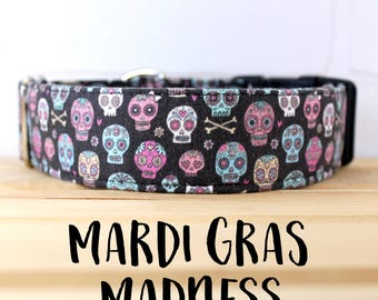 Skull Dog Collar for Halloween for Boy/Girl Dog. Can be made in a Buckle or Martingale Collar. PLEASE READ Item Details