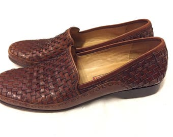 Vintage Cole Haan Woven Leather Penny Loafers/Huaraches/Oxfords Size 8.5