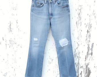 Faded LEVIS 517 Jeans 30 Waist Patched Stretch Denim