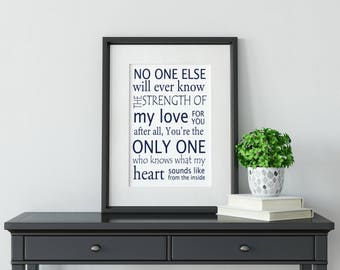 No one else will ever know the strength of my love for you, nursery printable, playroom wall sign, kids wall sign, baby shower printable art