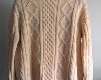 Vintage ARAN FISHERMAN'S Cream Cable Knit Sweater Crew Neck Wool Approximately Size XL Extra Large