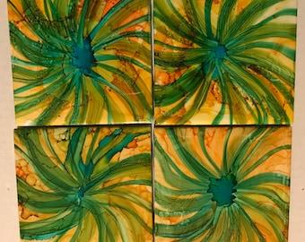 Twist 4x4 Ceramic Tile Coasters