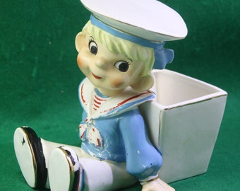 Scarce vintage  cold painted Consco Marily exclusive Sailor Boy ceramic Planter - Japan