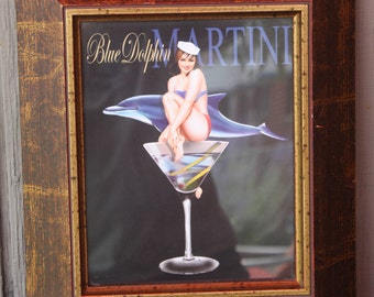 Vintage Professional framed Ralph Bruch Blue Dolphin Martini advertising Breweriana
