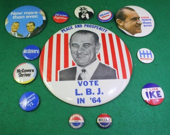 Vintage collection of (13) presidiental campaign buttons from 1940's Willke to 1970's Nixon