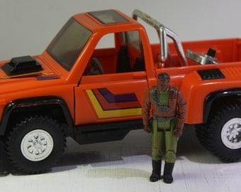 Vintage 1986 Kenner M.A.S.K. Firecracker Pickup Recon Truck  with  Hondo MacLean figure .