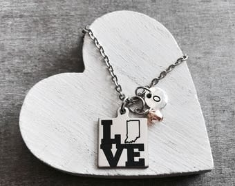 I Love Indiana, Silver Necklace, Indiana State, Indiana Necklace, State Jewelry, College, Leaving, Going away, Charm Necklace, Gift for