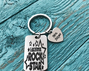 Educational rock star, Principle, School Administration, Silver Keychain, Silver Keyring, Gift, Teacher, Teaching assistant, Personalized