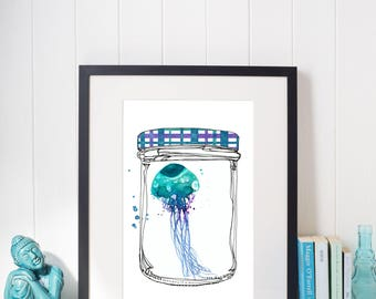 Watercolor Illustration Teal Medusa In a Glass Jam Jar, Instant Download, Print at Home, Home decor