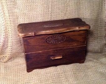 Lerner Brown Plastic Storage Box - Faux Wood Grain - Dark Brown Craft, Sewing, Tool Box Storage Organizer with Drawer