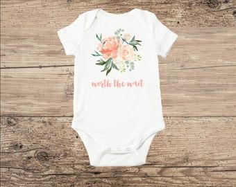 Baby Bodysuit, Worth The Wait, Peach Flowers