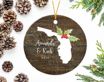 Florida Ornament, Florida State, Christmas Ornament, Personalized Family Ornament, Wedding Ornament