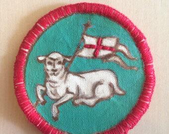Lamb of God Patch. Agnus Dei. Merit Badge. Handmade Patch. Catholic Symbol. Catholic Art. Christian Image. Embroidery. Flair. Catholic Swag.