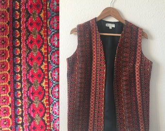 vintage 60's/70's PSYCHEDELIC TAPESTRY VEST - carpet, small, medium, red, chenille