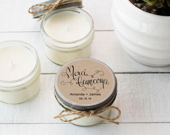 Wedding Favor Candles - Merci Beaucoup Label Design - Thank You Wedding Favors | Personalized Wedding Favors | Soy Candle Favor | Set of 12