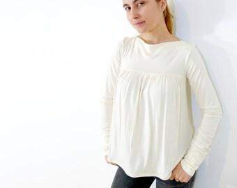 PDF Sewing Pattern Women's Knit / Jersey Top long sleeve - wide fit - (sizes XS-XXL) n.56