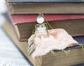 Miniature Doll Figurine Pendant / Antique Bronze Color