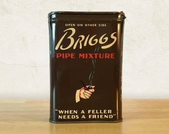 Briggs Pipe Mixture Pocket Tobacco Tin with Full Tax Stamp / Tobacciana / Primitive Rustic Decor / General Store / Vintage Advertising
