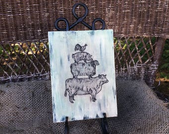 Rustic Farmhouse wood sign with cow, sheep, pig, and chicken hand painted