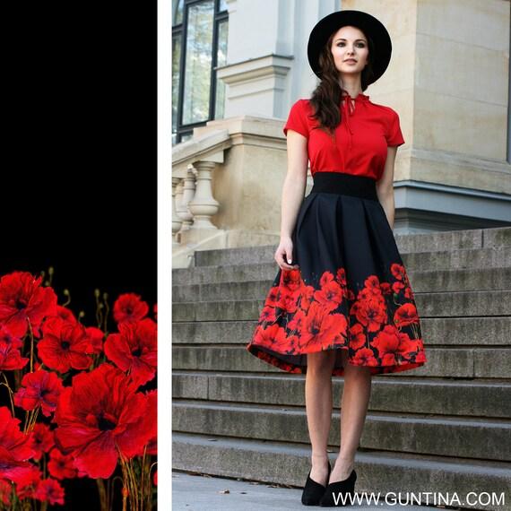 red black floral black floral skirt red flower skirt floral midi skirt women