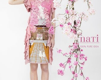 TEMPLE with CATs cherry blossom  DRESS flouncy pastel pink pretty haute couture